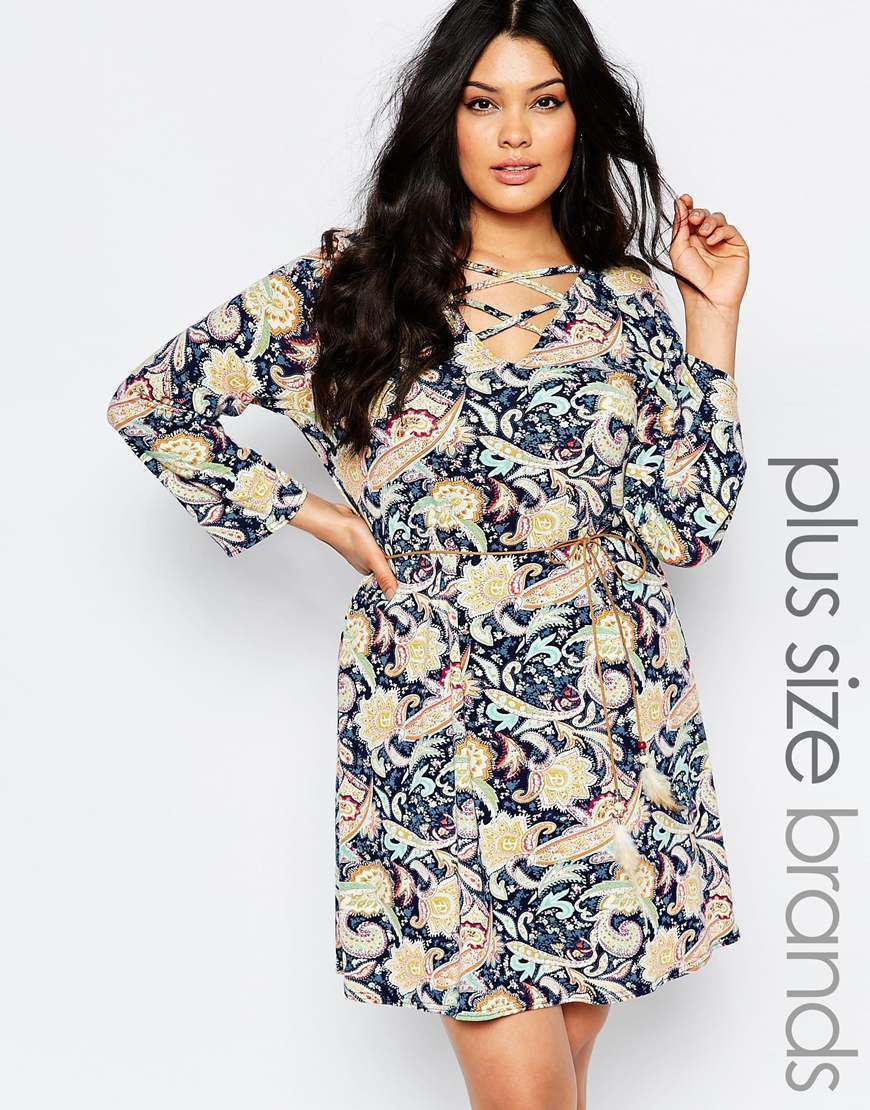 Plus Shift Dress With Lace Up Front In Paisley Print Paisley - style: shift; length: mid thigh; neckline: v-neck; fit: fitted at waist; secondary colour: blush; predominant colour: navy; occasions: evening; fibres: polyester/polyamide - 100%; hip detail: subtle/flattering hip detail; sleeve length: long sleeve; sleeve style: standard; pattern type: fabric; pattern size: big & busy; pattern: florals; texture group: woven light midweight; multicoloured: multicoloured; season: s/s 2016; wardrobe: event; embellishment location: bust