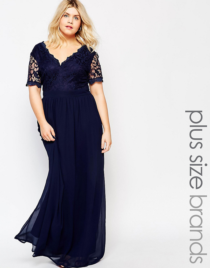 Plus Maxi Dress With Scallop Lace Top Navy/Navy Lining - neckline: v-neck; style: maxi dress; predominant colour: navy; occasions: evening; length: floor length; fit: body skimming; fibres: polyester/polyamide - 100%; sleeve length: short sleeve; sleeve style: standard; texture group: lace; pattern type: fabric; pattern size: standard; pattern: patterned/print; embellishment: lace; season: s/s 2016; wardrobe: event