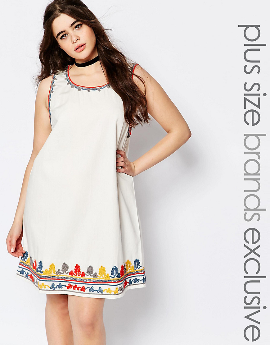 Heavily Embroidered Shift Dress White - style: shift; neckline: round neck; sleeve style: sleeveless; predominant colour: white; secondary colour: yellow; occasions: casual; length: just above the knee; fit: body skimming; fibres: cotton - 100%; sleeve length: sleeveless; pattern type: fabric; pattern: florals; texture group: other - light to midweight; embellishment: embroidered; multicoloured: multicoloured; season: s/s 2016; wardrobe: highlight
