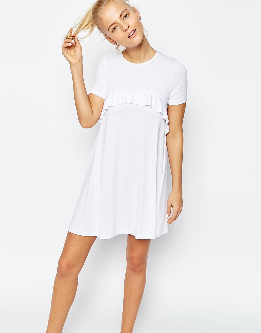 Swing Dress With Ruffle Detail White - style: shift; pattern: plain; predominant colour: white; occasions: casual; length: just above the knee; fit: body skimming; fibres: viscose/rayon - stretch; neckline: crew; sleeve length: short sleeve; sleeve style: standard; bust detail: tiers/frills/bulky drapes/pleats; pattern type: fabric; texture group: jersey - stretchy/drapey; season: s/s 2016; wardrobe: highlight