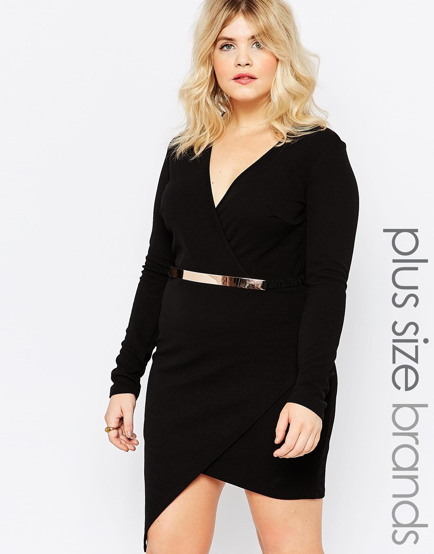 Plus Asymmetric Dress With Metal Belt Black - length: mini; neckline: v-neck; fit: tight; pattern: plain; waist detail: belted waist/tie at waist/drawstring; predominant colour: black; occasions: evening; style: asymmetric (hem); fibres: polyester/polyamide - stretch; sleeve length: long sleeve; sleeve style: standard; texture group: jersey - clingy; pattern type: fabric; season: s/s 2016; wardrobe: event