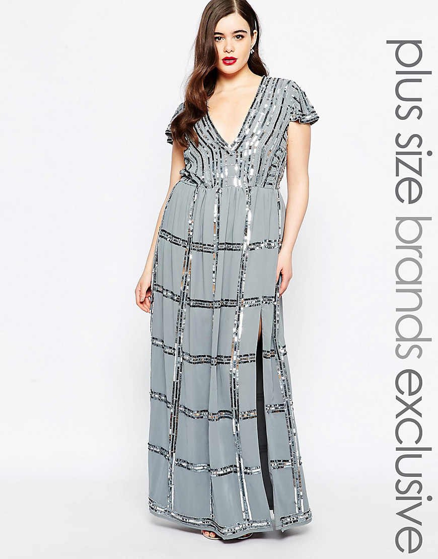 Embellished Plunge Front Maxi Dress Grey - neckline: low v-neck; sleeve style: capped; style: maxi dress; pattern: checked/gingham; secondary colour: silver; predominant colour: charcoal; occasions: evening; length: floor length; fit: body skimming; fibres: polyester/polyamide - 100%; sleeve length: short sleeve; texture group: sheer fabrics/chiffon/organza etc.; pattern type: fabric; embellishment: sequins; season: s/s 2016; wardrobe: event