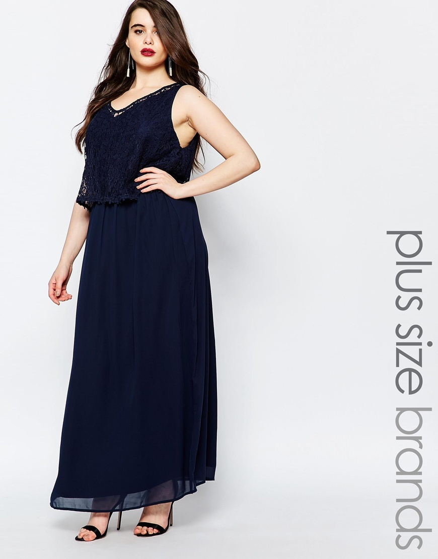 Sleeveless Maxi Dress With Lace Overlay Navy - neckline: low v-neck; sleeve style: standard vest straps/shoulder straps; fit: fitted at waist; pattern: plain; style: maxi dress; length: ankle length; predominant colour: navy; fibres: polyester/polyamide - 100%; occasions: occasion; hip detail: subtle/flattering hip detail; sleeve length: sleeveless; texture group: sheer fabrics/chiffon/organza etc.; pattern type: fabric; season: s/s 2016; wardrobe: event