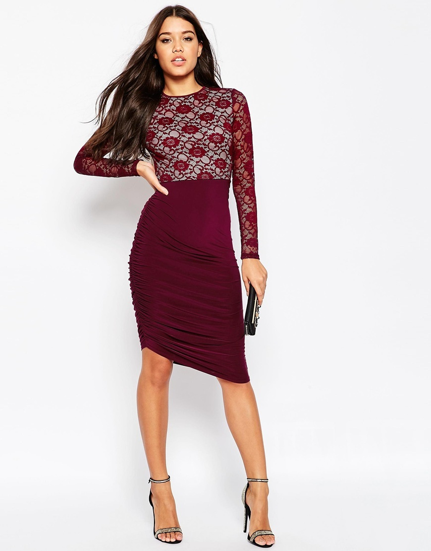 Lace Top Asymmetric Slinky Midi Dress Wine - fit: tight; pattern: plain; style: bodycon; predominant colour: burgundy; occasions: evening; length: on the knee; fibres: polyester/polyamide - stretch; neckline: crew; sleeve length: long sleeve; sleeve style: standard; texture group: jersey - clingy; pattern type: fabric; embellishment: lace; season: s/s 2016; wardrobe: event