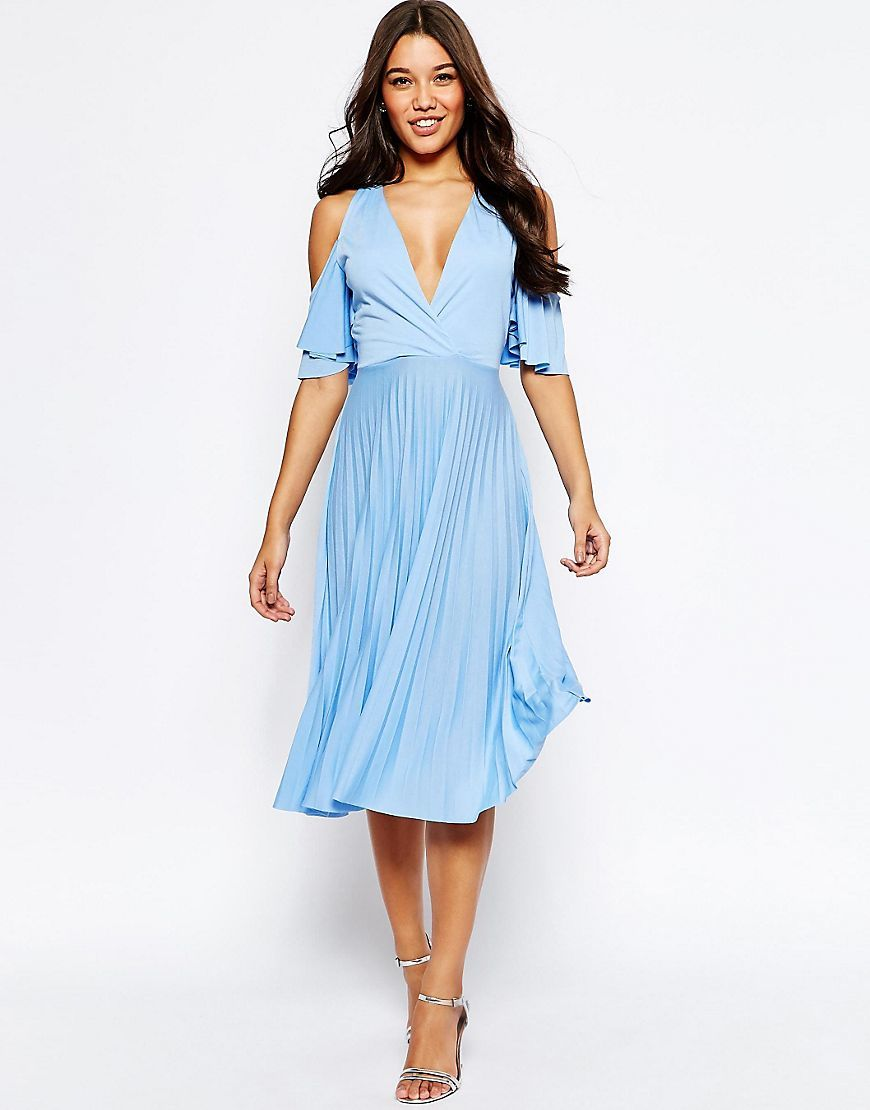 Cold Shoulder Pleated Midi Pale Blue - style: faux wrap/wrap; length: below the knee; neckline: low v-neck; fit: loose; pattern: plain; predominant colour: pale blue; occasions: evening; fibres: polyester/polyamide - 100%; hip detail: subtle/flattering hip detail; shoulder detail: cut out shoulder; sleeve length: half sleeve; sleeve style: standard; pattern type: fabric; texture group: jersey - stretchy/drapey; season: s/s 2016; wardrobe: event