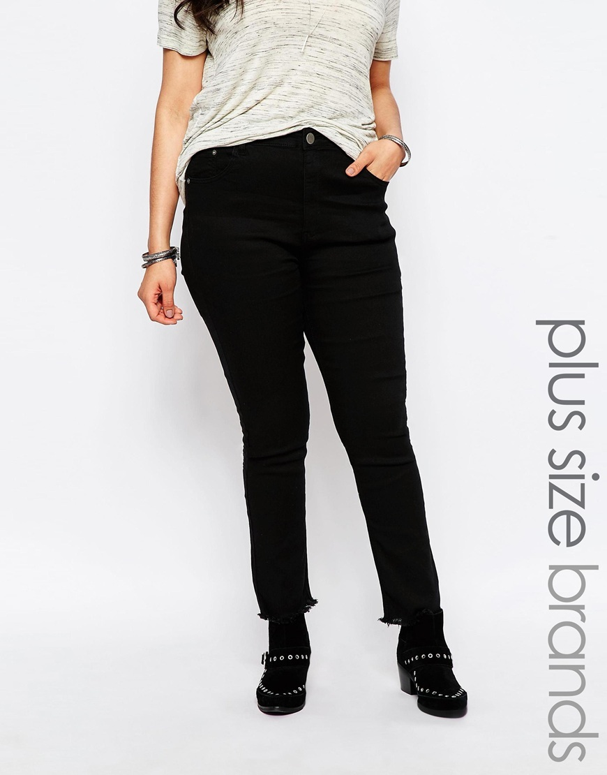 Skinny Jean With Frayed Edge Black - style: skinny leg; pattern: plain; waist: high rise; pocket detail: traditional 5 pocket; predominant colour: black; occasions: casual; length: ankle length; fibres: cotton - stretch; texture group: denim; pattern type: fabric; season: s/s 2016; wardrobe: basic
