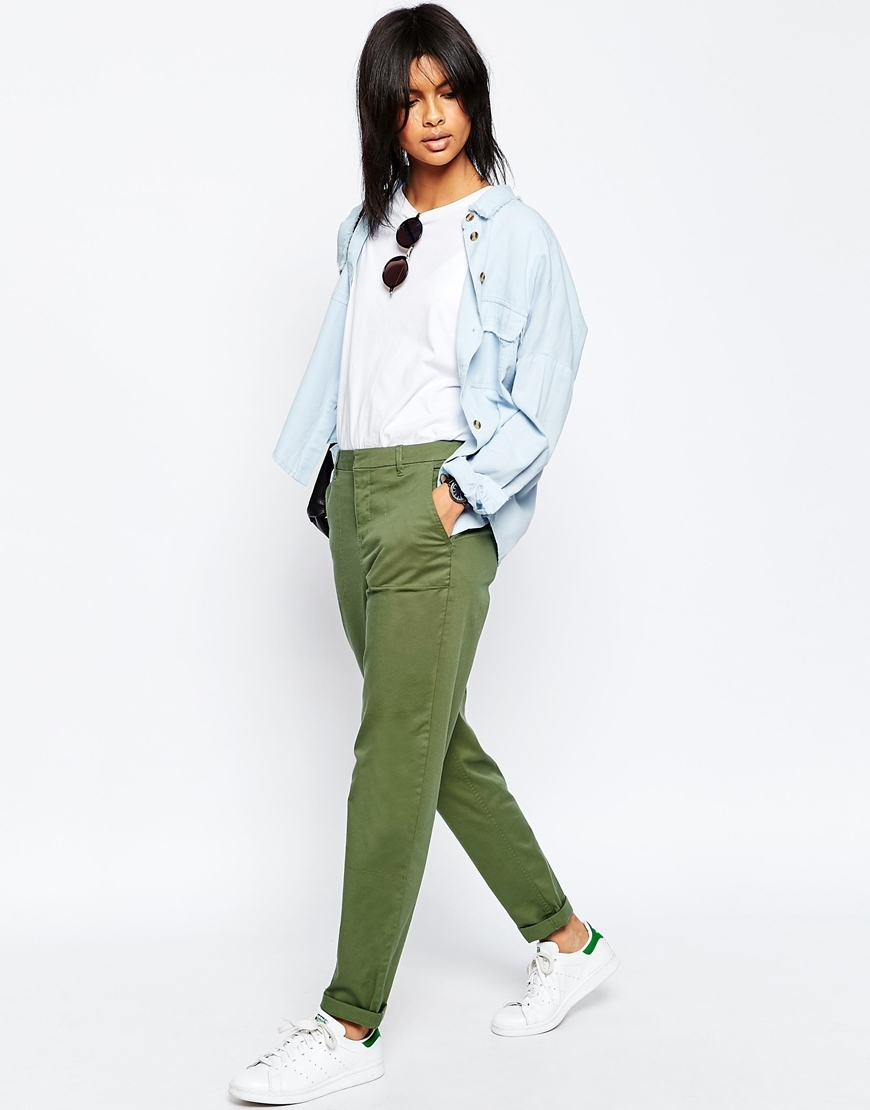 Casual Chino Trousers With Roll Hem Khaki - length: standard; pattern: plain; waist: mid/regular rise; predominant colour: khaki; occasions: casual; fibres: cotton - stretch; fit: slim leg; pattern type: fabric; texture group: woven light midweight; style: standard; season: s/s 2016; wardrobe: basic