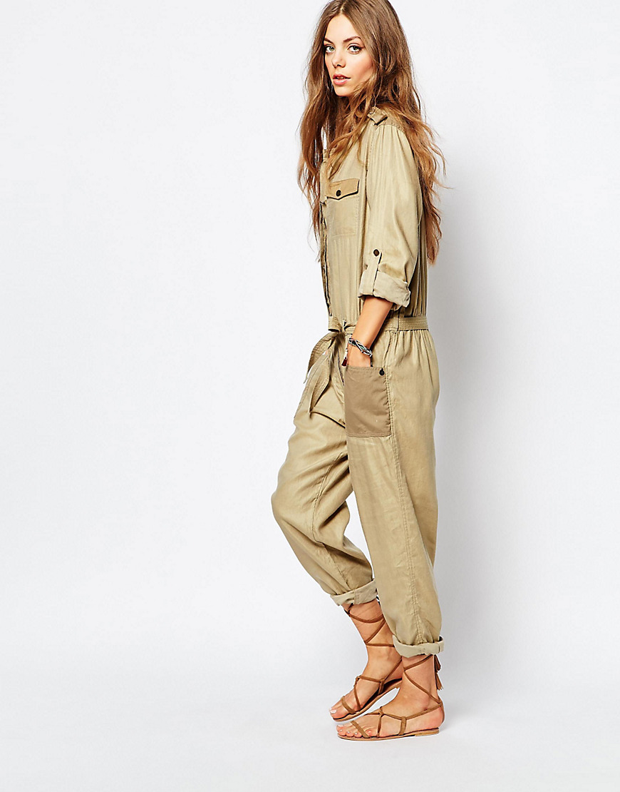 Safari Boilersuit Green - length: standard; neckline: shirt collar/peter pan/zip with opening; pattern: plain; predominant colour: khaki; occasions: casual; fit: body skimming; fibres: linen - mix; sleeve length: long sleeve; sleeve style: standard; style: jumpsuit; pattern type: fabric; texture group: woven light midweight; season: s/s 2016; wardrobe: highlight