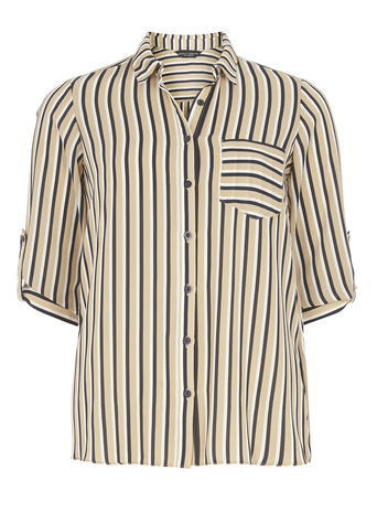 Womens Stripe Wrap Back Shirt White - neckline: shirt collar/peter pan/zip with opening; pattern: striped; style: shirt; secondary colour: navy; predominant colour: black; occasions: casual; length: standard; fibres: polyester/polyamide - 100%; fit: body skimming; sleeve length: half sleeve; sleeve style: standard; texture group: sheer fabrics/chiffon/organza etc.; pattern type: fabric; multicoloured: multicoloured; season: s/s 2016; wardrobe: highlight