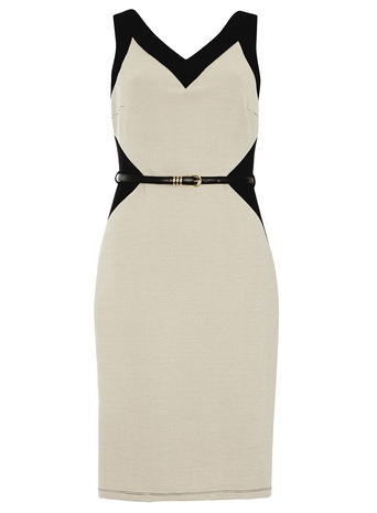 Womens **Tall Black And Camel Pencil Dress Black - style: shift; neckline: v-neck; sleeve style: sleeveless; waist detail: belted waist/tie at waist/drawstring; predominant colour: ivory/cream; secondary colour: black; occasions: evening; length: just above the knee; fit: body skimming; fibres: polyester/polyamide - stretch; sleeve length: sleeveless; pattern type: fabric; pattern: colourblock; texture group: jersey - stretchy/drapey; multicoloured: multicoloured; season: s/s 2016; wardrobe: event