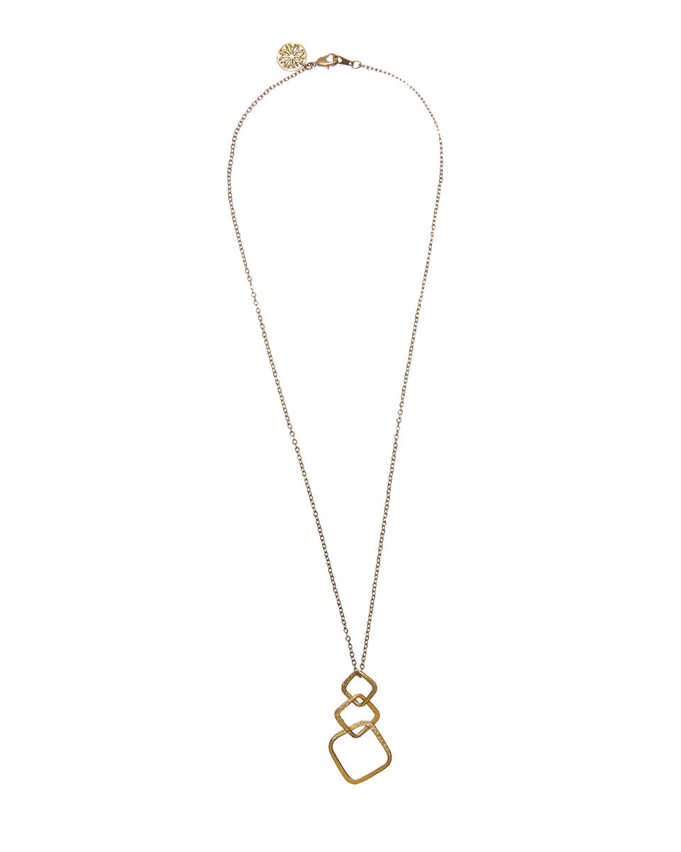 Mirabelle Triple Square Necklace - predominant colour: gold; occasions: evening; style: pendant; length: long; size: standard; material: chain/metal; finish: metallic; embellishment: chain/metal; season: s/s 2016; wardrobe: event