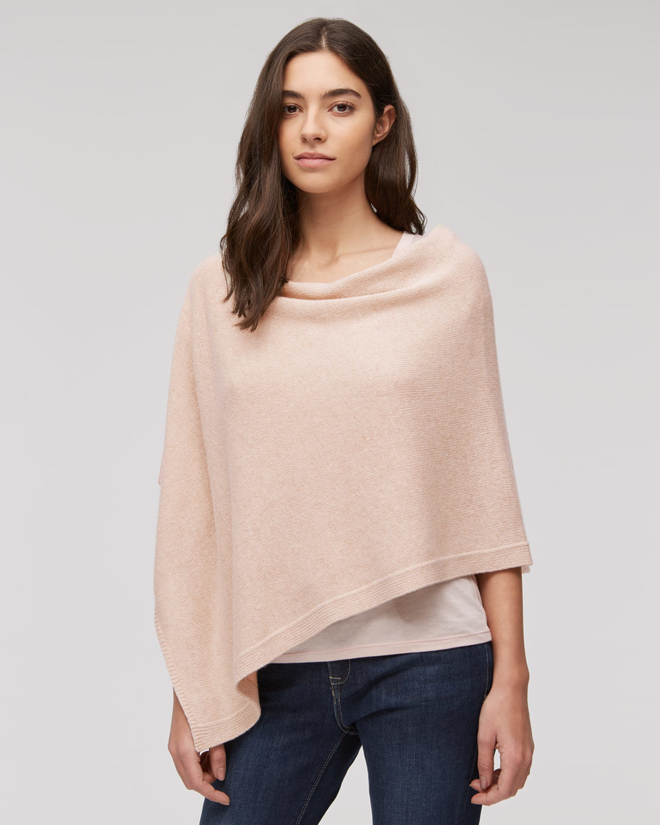 Knitted Ribbed Border Poncho - pattern: plain; style: poncho; predominant colour: blush; occasions: casual; length: standard; fibres: wool - mix; fit: loose; neckline: crew; sleeve length: long sleeve; texture group: knits/crochet; pattern type: knitted - fine stitch; sleeve style: cape/poncho sleeve; season: s/s 2016; wardrobe: highlight