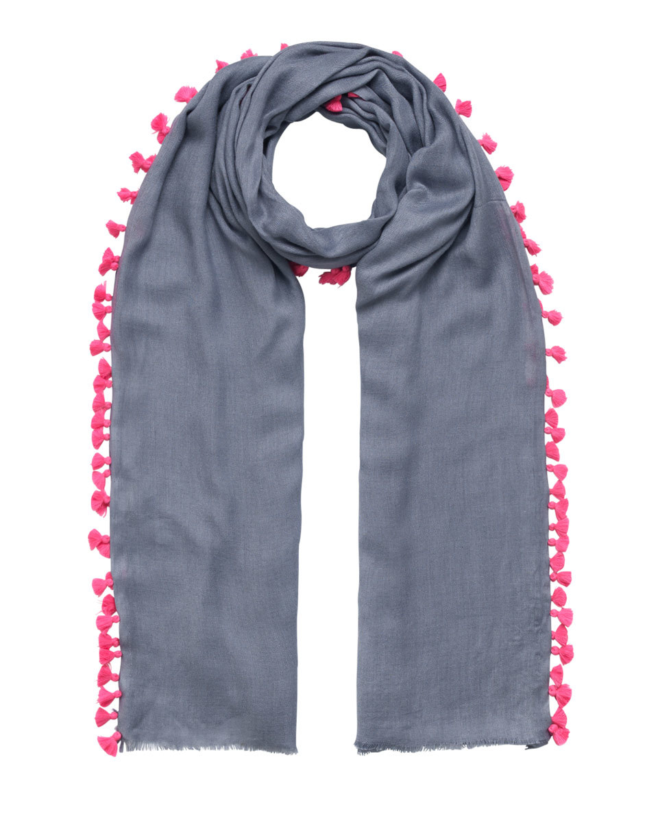 Contrast Pom Pom Scarf - secondary colour: hot pink; predominant colour: navy; occasions: casual; type of pattern: light; style: regular; size: standard; material: fabric; embellishment: pompom; pattern: plain; season: s/s 2016; wardrobe: highlight