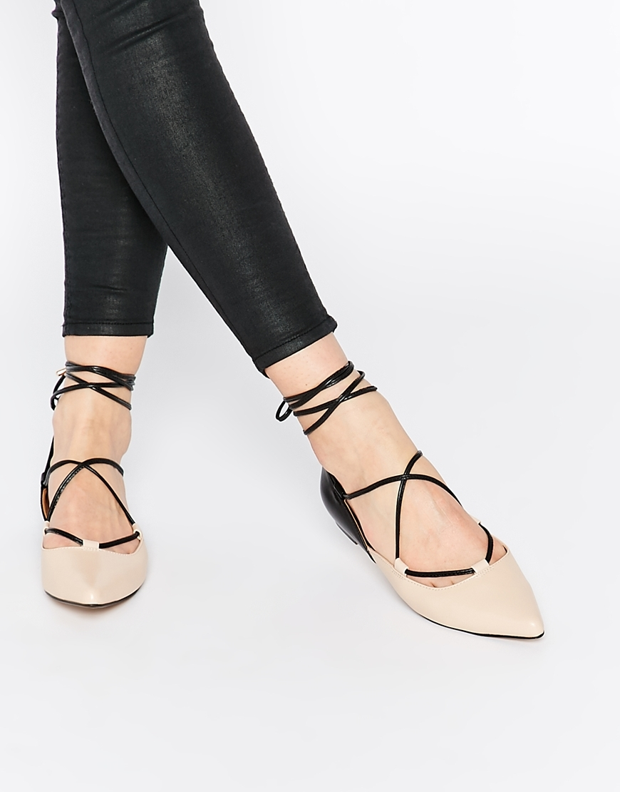 Kg Kurt Geiger Larissa Leather Flat Shoes Black & Beige - predominant colour: nude; secondary colour: black; occasions: casual, work, creative work; material: leather; heel height: flat; ankle detail: ankle tie; toe: pointed toe; style: ballerinas / pumps; finish: plain; pattern: plain; season: s/s 2016; wardrobe: basic