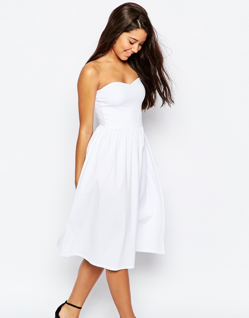 Bandeau Midi Sundress White - length: below the knee; neckline: strapless (straight/sweetheart); pattern: plain; sleeve style: strapless; predominant colour: white; occasions: casual; fit: fitted at waist & bust; style: fit & flare; fibres: cotton - stretch; sleeve length: sleeveless; pattern type: fabric; texture group: jersey - stretchy/drapey; season: s/s 2016; wardrobe: basic