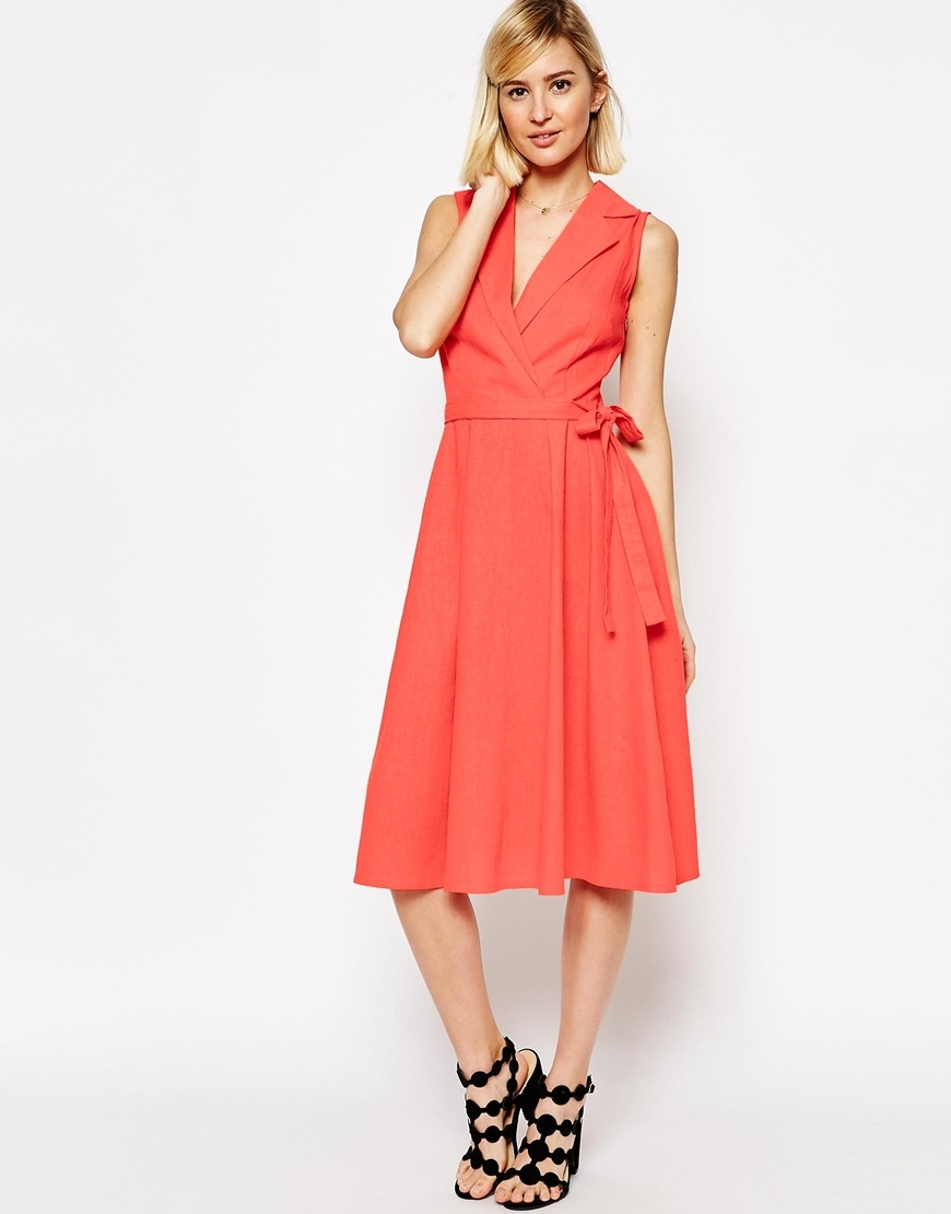Sleeveless Linen Midi Shirt Dress With Belt Pink - style: faux wrap/wrap; length: below the knee; neckline: shirt collar/peter pan/zip with opening; pattern: plain; sleeve style: sleeveless; waist detail: belted waist/tie at waist/drawstring; predominant colour: pink; occasions: evening; fit: body skimming; fibres: linen - 100%; sleeve length: sleeveless; pattern type: fabric; texture group: woven light midweight; season: s/s 2016