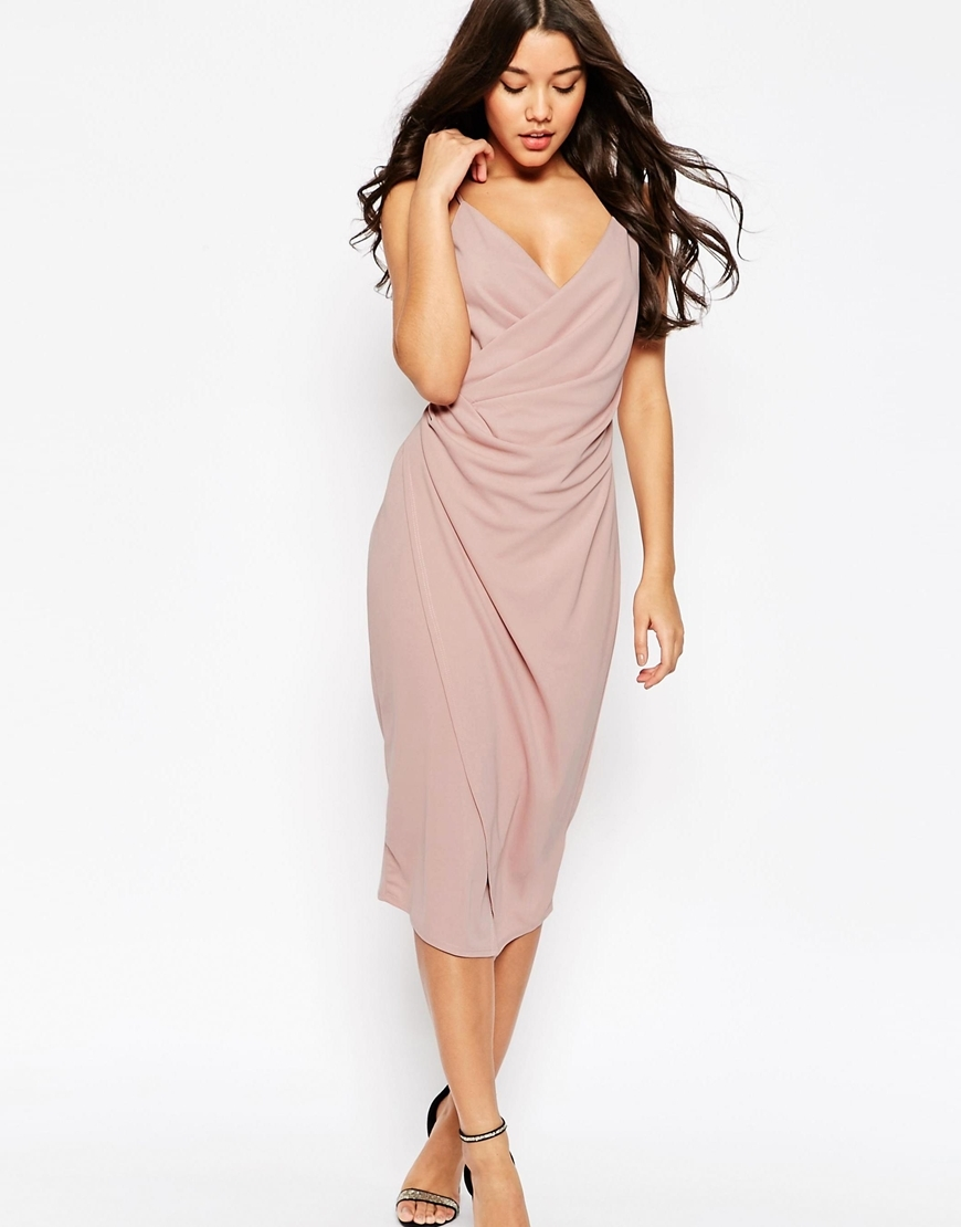 Cami Drape Crepe Midi Slip Dress Mauve - style: faux wrap/wrap; length: below the knee; neckline: v-neck; pattern: plain; sleeve style: sleeveless; predominant colour: blush; occasions: evening; fit: body skimming; fibres: polyester/polyamide - 100%; sleeve length: sleeveless; pattern type: fabric; texture group: jersey - stretchy/drapey; season: s/s 2016; wardrobe: event