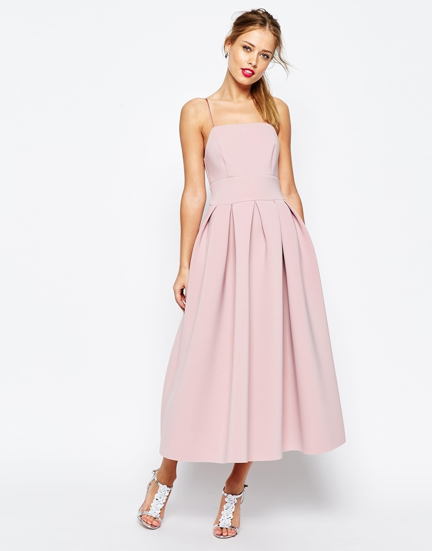 Salon Strappy Pinny Scuba Prom Midi Dress Nude - sleeve style: spaghetti straps; pattern: plain; style: prom dress; length: ankle length; predominant colour: blush; occasions: evening, occasion; fit: fitted at waist & bust; fibres: polyester/polyamide - 100%; sleeve length: sleeveless; neckline: medium square neck; pattern type: fabric; texture group: other - light to midweight; season: s/s 2016; wardrobe: event