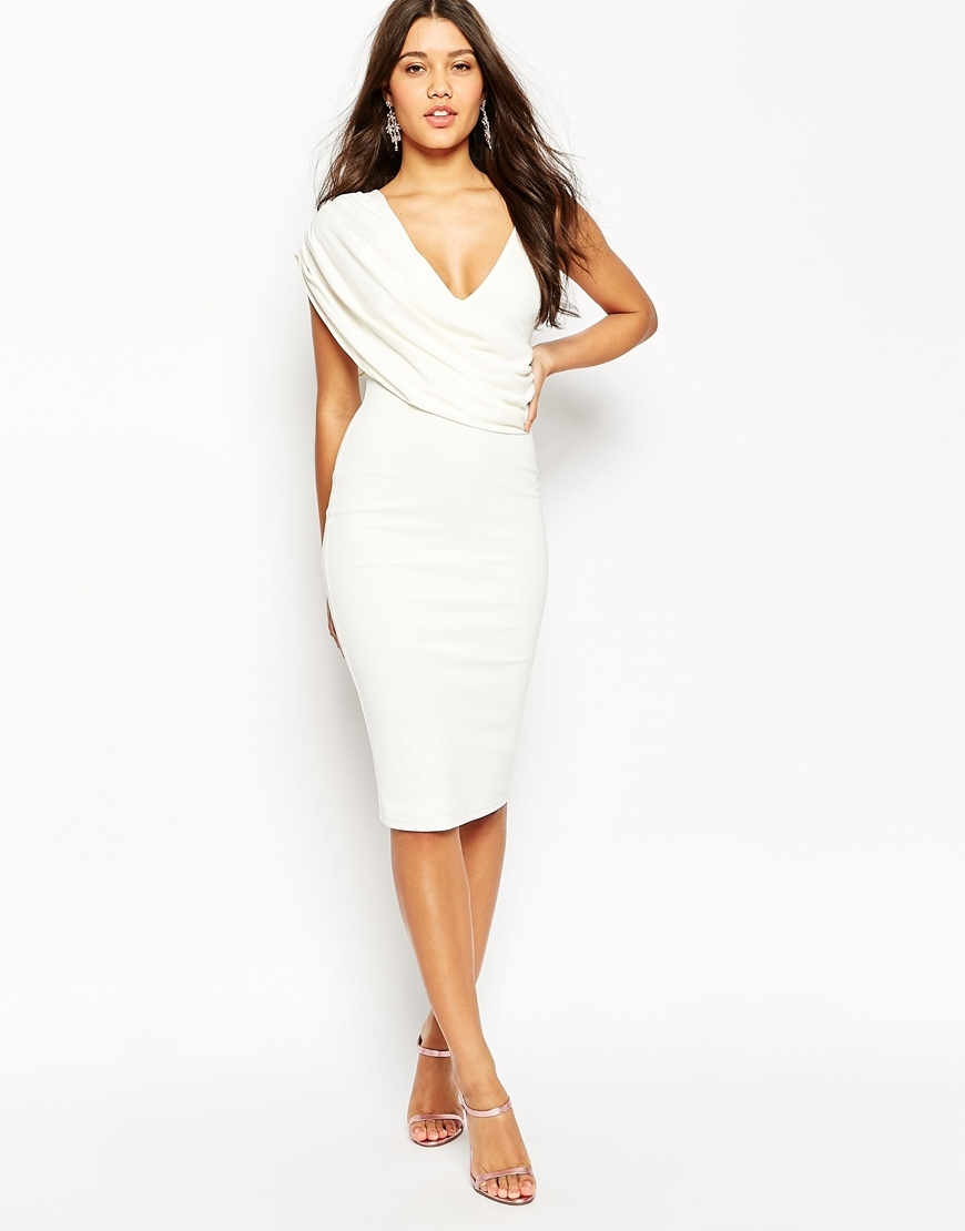 One Shoulder Cami Cowl Front Midi Crepe Dress Ivory - length: below the knee; neckline: low v-neck; fit: tight; pattern: plain; sleeve style: sleeveless; style: bodycon; bust detail: ruching/gathering/draping/layers/pintuck pleats at bust; predominant colour: ivory/cream; occasions: evening; fibres: polyester/polyamide - 100%; sleeve length: sleeveless; texture group: jersey - clingy; pattern type: fabric; season: s/s 2016