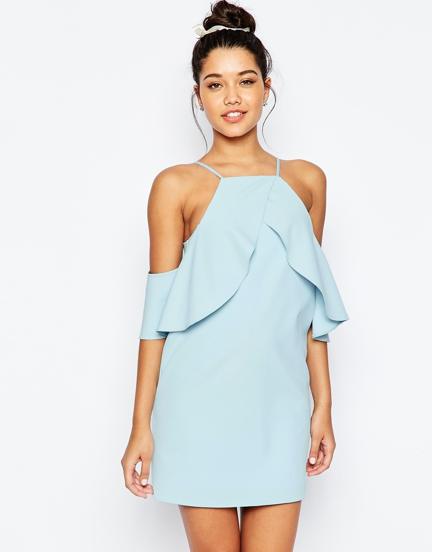 Cold Shoulder Ruffle Crepe Mini Dress Baby Blue - style: shift; length: mini; neckline: high square neck; pattern: plain; sleeve style: sleeveless; predominant colour: pale blue; occasions: evening; fit: body skimming; fibres: polyester/polyamide - stretch; sleeve length: sleeveless; texture group: crepes; bust detail: bulky details at bust; pattern type: fabric; season: s/s 2016; wardrobe: event