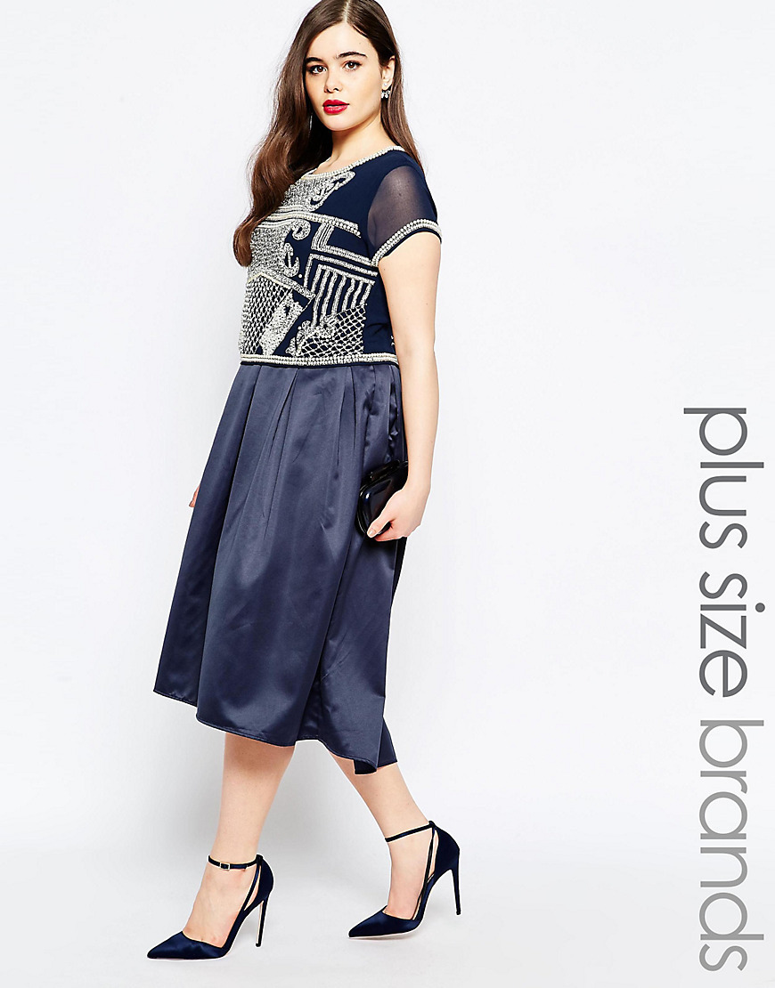 2 In 1 Embellished Bodice Midi Dress Navy - length: calf length; pattern: plain; style: prom dress; bust detail: added detail/embellishment at bust; predominant colour: navy; secondary colour: silver; occasions: evening; fit: fitted at waist & bust; fibres: viscose/rayon - stretch; neckline: crew; sleeve length: short sleeve; sleeve style: standard; pattern type: fabric; texture group: other - light to midweight; embellishment: embroidered; season: s/s 2016