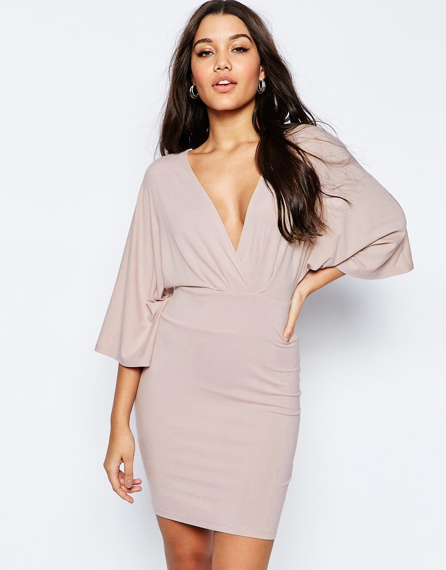 Kimono Mini Bodycon Dress Pale Pink - neckline: low v-neck; sleeve style: dolman/batwing; fit: tight; pattern: plain; style: bodycon; predominant colour: blush; occasions: evening; length: just above the knee; fibres: viscose/rayon - stretch; sleeve length: 3/4 length; texture group: jersey - clingy; pattern type: fabric; season: s/s 2016; wardrobe: event