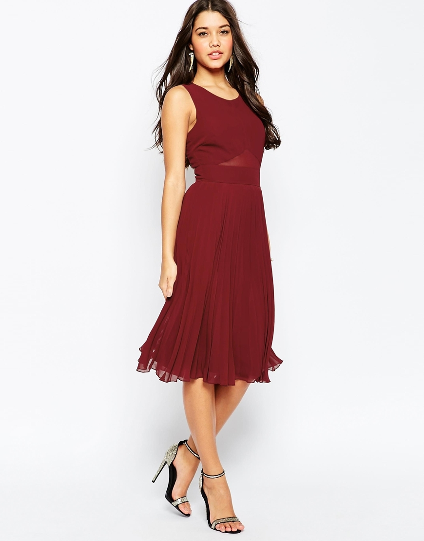 Sheer And Solid Pleated Midi Dress Oxblood - style: shift; length: calf length; neckline: round neck; pattern: plain; sleeve style: sleeveless; predominant colour: burgundy; occasions: evening; fit: fitted at waist & bust; fibres: polyester/polyamide - 100%; sleeve length: sleeveless; pattern type: fabric; texture group: woven light midweight; season: s/s 2016; wardrobe: event