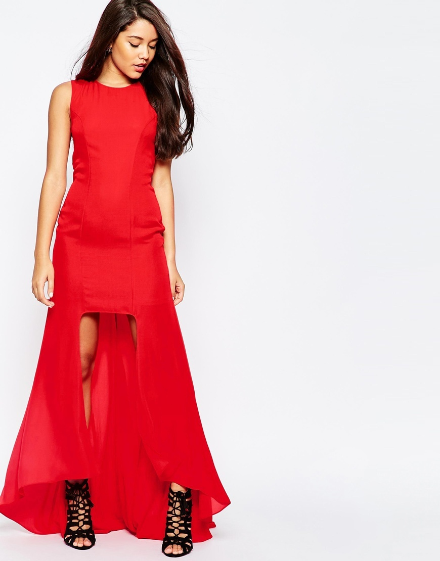 Step Hem Maxi Dress Hot Red - length: mid thigh; pattern: plain; sleeve style: sleeveless; predominant colour: coral; occasions: evening; fit: body skimming; style: asymmetric (hem); fibres: polyester/polyamide - 100%; neckline: crew; sleeve length: sleeveless; texture group: sheer fabrics/chiffon/organza etc.; pattern type: fabric; season: s/s 2016; wardrobe: event