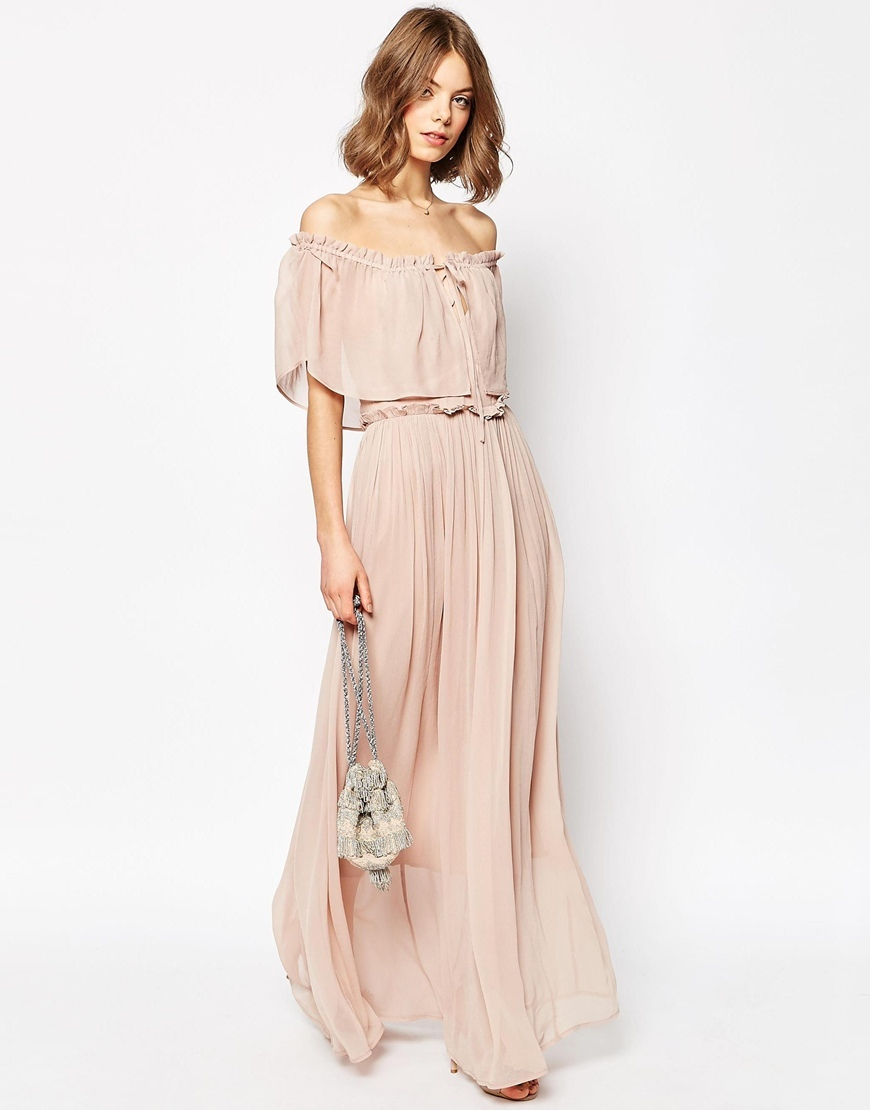 Ruffle And Tiered Off Shoulder Maxi Dress Nude - neckline: off the shoulder; pattern: plain; style: maxi dress; predominant colour: blush; occasions: evening; length: floor length; fit: body skimming; fibres: viscose/rayon - 100%; sleeve length: short sleeve; sleeve style: standard; texture group: sheer fabrics/chiffon/organza etc.; pattern type: fabric; season: s/s 2016; wardrobe: event