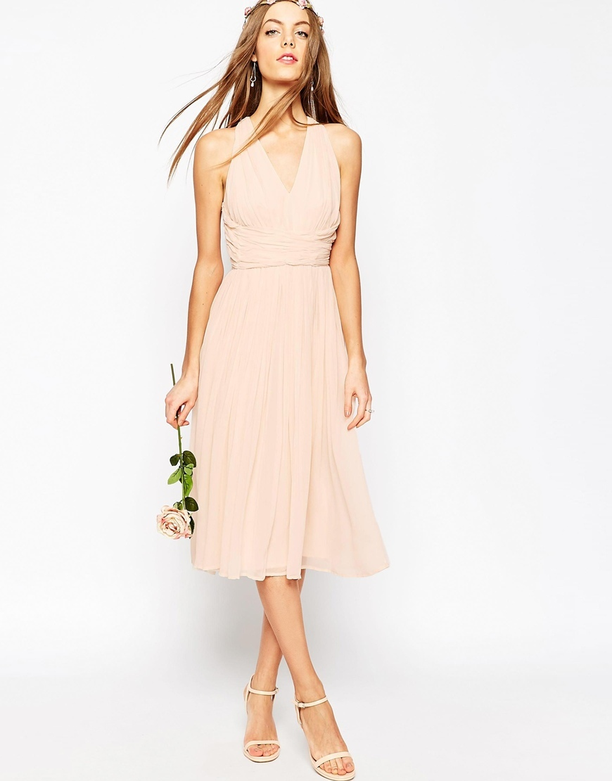 Wedding Hollywood Midi Dress Blush - length: calf length; neckline: v-neck; pattern: plain; sleeve style: sleeveless; predominant colour: nude; occasions: evening, occasion; fit: fitted at waist & bust; style: fit & flare; fibres: viscose/rayon - 100%; sleeve length: sleeveless; texture group: sheer fabrics/chiffon/organza etc.; pattern type: fabric; season: s/s 2016; wardrobe: event