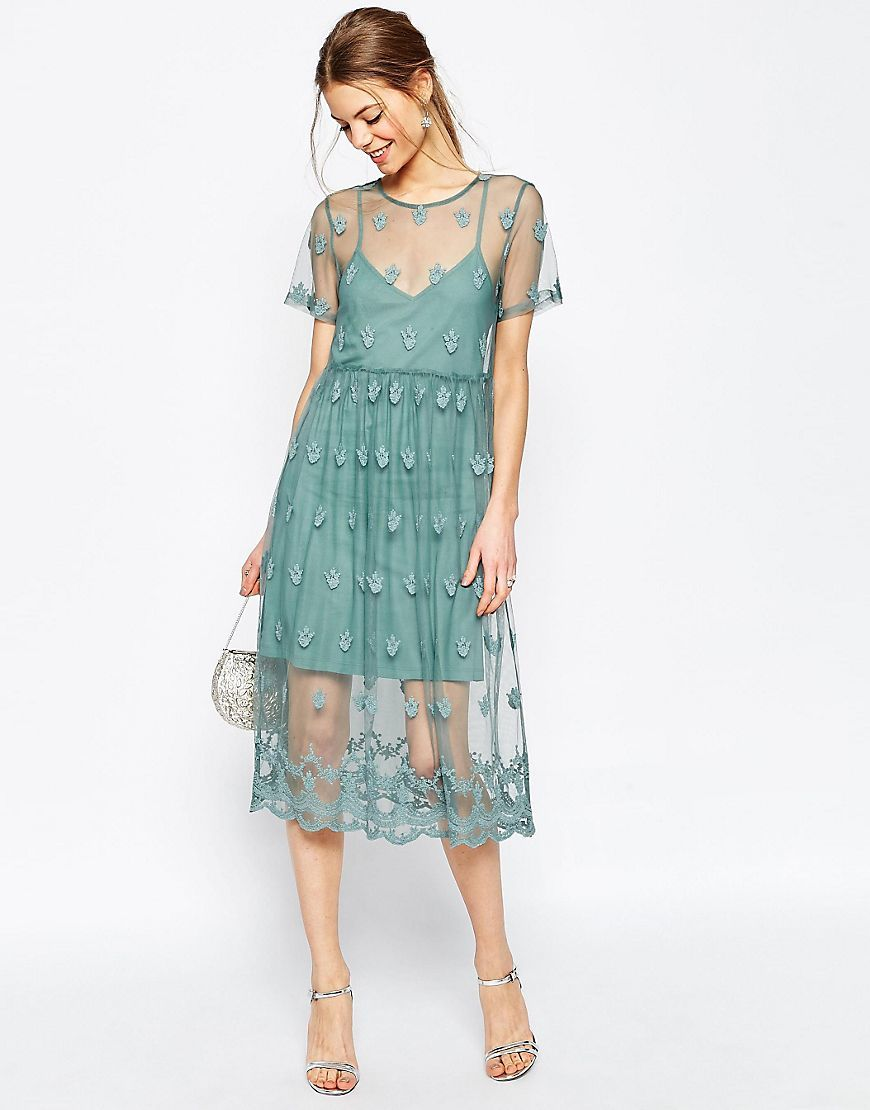 Pretty Embroidered Mesh Midi Dress Green - length: below the knee; pattern: plain; bust detail: sheer at bust; predominant colour: turquoise; occasions: evening; fit: fitted at waist & bust; style: fit & flare; fibres: nylon - 100%; neckline: crew; sleeve length: short sleeve; sleeve style: standard; texture group: sheer fabrics/chiffon/organza etc.; pattern type: fabric; season: s/s 2016; wardrobe: event