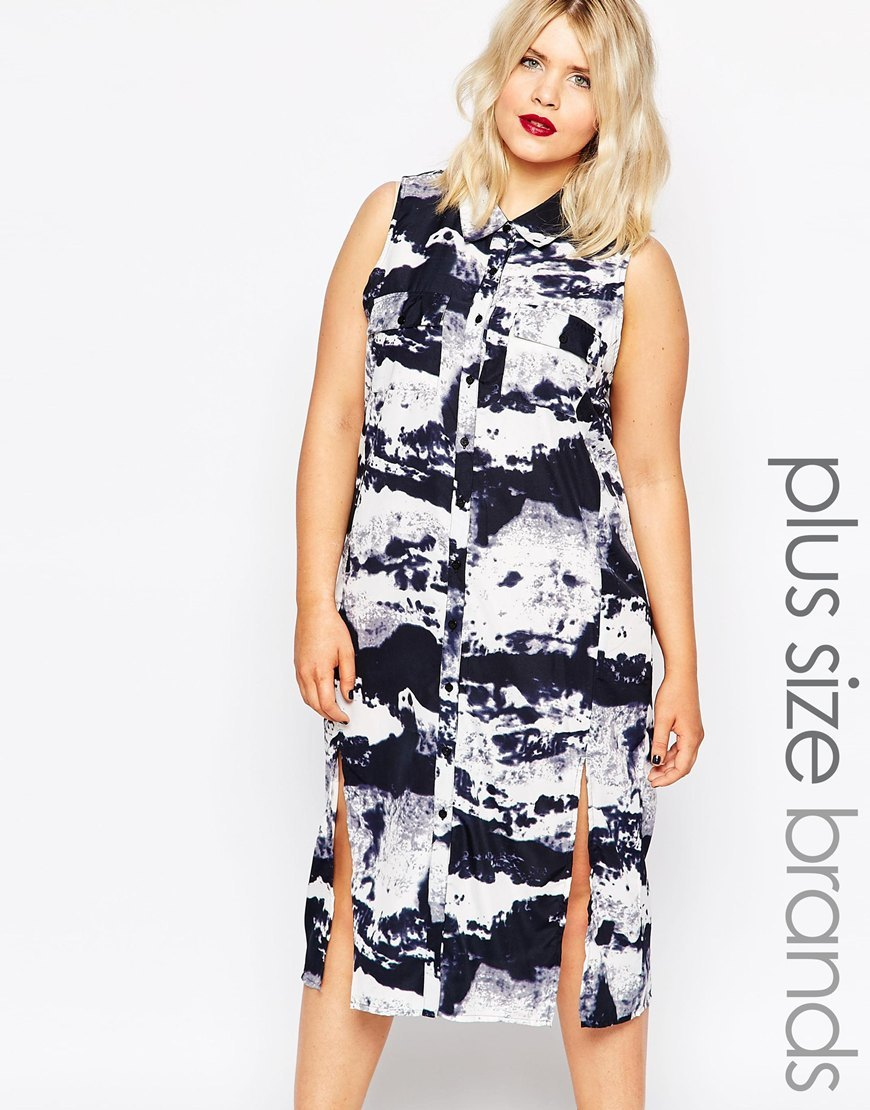 Plus Tunic Dress With Side Splits In Smudge Print Black/White - style: shirt; length: below the knee; neckline: shirt collar/peter pan/zip with opening; sleeve style: sleeveless; secondary colour: white; predominant colour: black; occasions: casual; fit: body skimming; fibres: polyester/polyamide - 100%; sleeve length: sleeveless; pattern type: fabric; pattern: patterned/print; texture group: other - light to midweight; multicoloured: multicoloured; season: s/s 2016; wardrobe: highlight