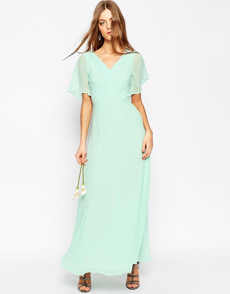 Wedding Lace And Pleat Maxi Dress Mint - neckline: v-neck; pattern: plain; style: maxi dress; predominant colour: pistachio; occasions: evening; length: floor length; fit: body skimming; fibres: polyester/polyamide - 100%; sleeve length: short sleeve; sleeve style: standard; texture group: sheer fabrics/chiffon/organza etc.; pattern type: fabric; embellishment: lace; season: s/s 2016; wardrobe: event; embellishment location: bust