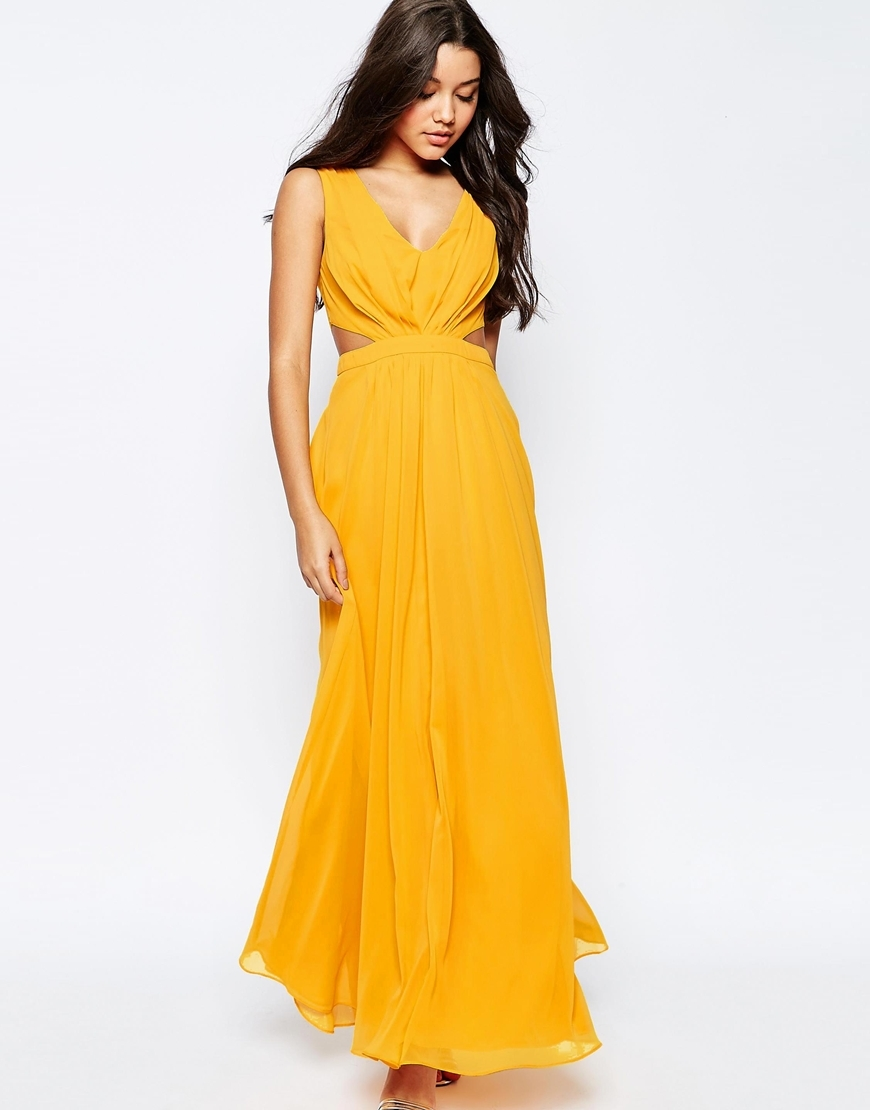 Side Cut Out Maxi Dress Tang Orange - neckline: low v-neck; pattern: plain; sleeve style: sleeveless; style: maxi dress; predominant colour: mustard; occasions: evening; length: floor length; fit: body skimming; fibres: polyester/polyamide - 100%; waist detail: cut out detail; sleeve length: sleeveless; pattern type: fabric; texture group: other - light to midweight; season: s/s 2016; wardrobe: event