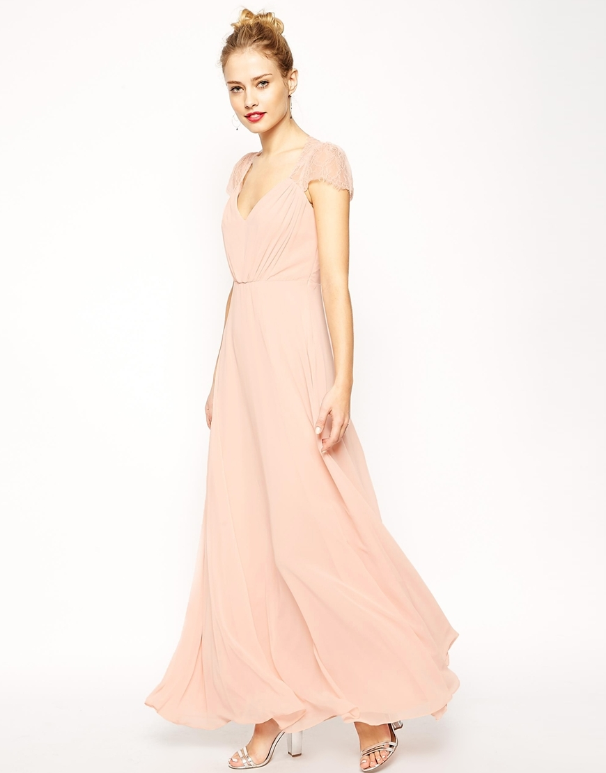 Kate Lace Maxi Dress Nude - neckline: low v-neck; pattern: plain; style: maxi dress; predominant colour: blush; occasions: evening; length: floor length; fit: body skimming; fibres: polyester/polyamide - 100%; sleeve length: short sleeve; sleeve style: standard; texture group: silky - light; pattern type: fabric; season: s/s 2016; wardrobe: event