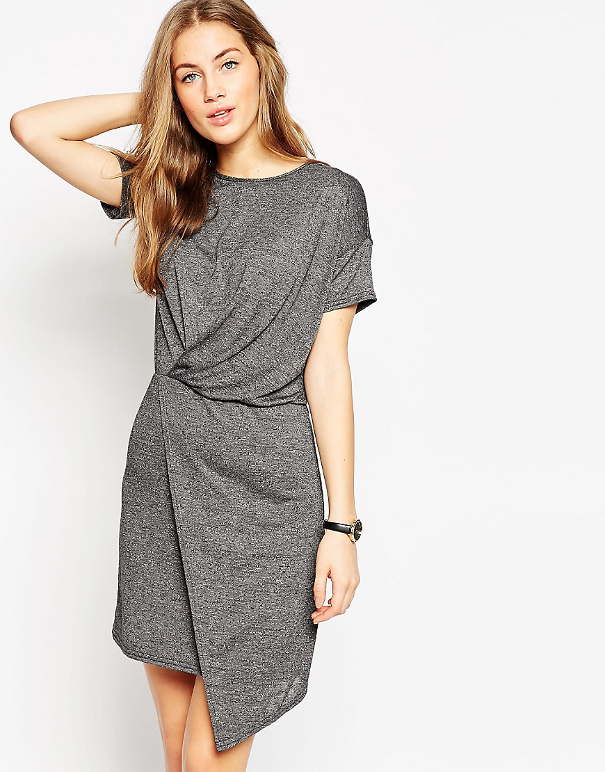 T Shirt Dress With Drape Front Grey - style: t-shirt; pattern: plain; predominant colour: mid grey; occasions: casual; length: just above the knee; fit: body skimming; fibres: polyester/polyamide - stretch; neckline: crew; sleeve length: short sleeve; sleeve style: standard; pattern type: fabric; texture group: jersey - stretchy/drapey; season: s/s 2016