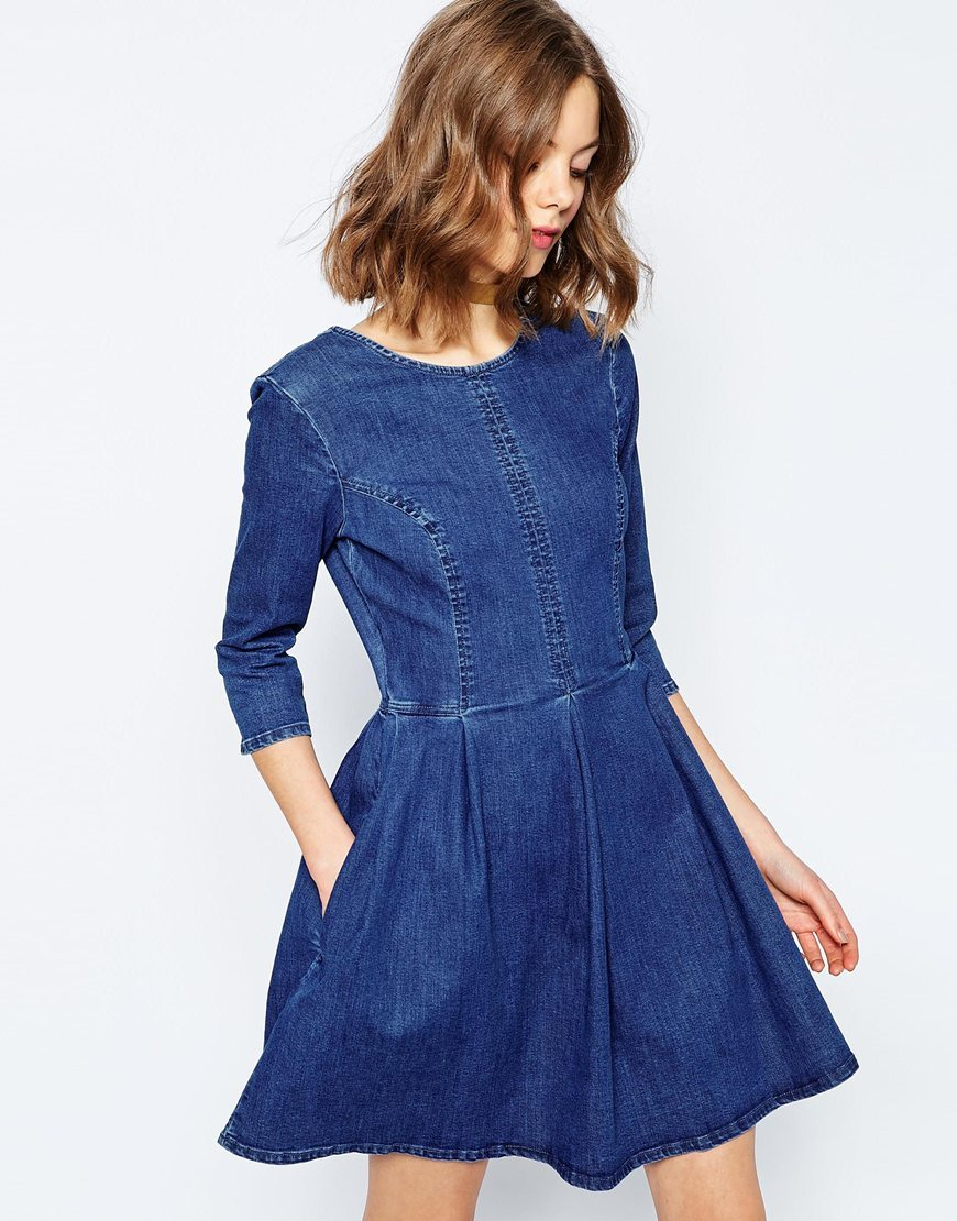 Denim Skater Dress In Mid Blue Wash Mid Blue Wash - length: mid thigh; pattern: plain; style: prom dress; predominant colour: navy; occasions: casual; fit: fitted at waist & bust; fibres: cotton - mix; neckline: crew; sleeve length: 3/4 length; sleeve style: standard; texture group: denim; pattern type: fabric; season: s/s 2016; wardrobe: basic