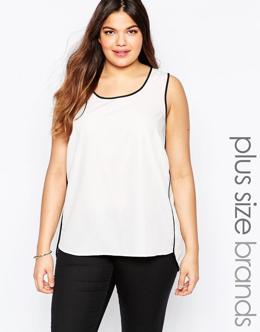 Plus Sissa Top With Contrast Piping Snow White - sleeve style: standard vest straps/shoulder straps; style: vest top; predominant colour: ivory/cream; secondary colour: black; occasions: casual, creative work; length: standard; neckline: scoop; fibres: polyester/polyamide - 100%; fit: straight cut; sleeve length: sleeveless; trends: monochrome; texture group: crepes; pattern type: fabric; pattern size: standard; pattern: colourblock; season: s/s 2016; wardrobe: highlight