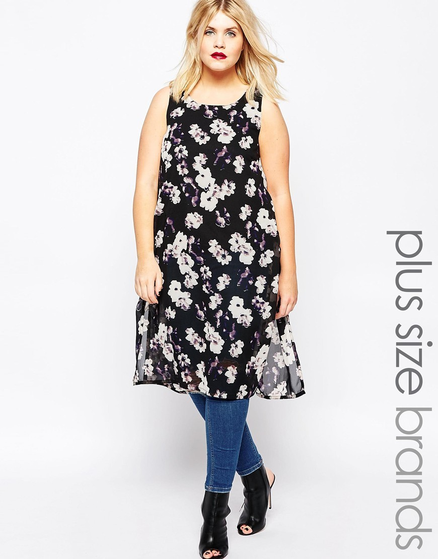 Plus Tunic Top With Side Splits In Floral Print Black/White - sleeve style: standard vest straps/shoulder straps; length: below the bottom; style: vest top; hip detail: draws attention to hips; secondary colour: white; predominant colour: black; occasions: casual; neckline: scoop; fibres: polyester/polyamide - stretch; fit: loose; sleeve length: sleeveless; trends: monochrome; pattern type: fabric; pattern: florals; texture group: jersey - stretchy/drapey; pattern size: big & busy (top); season: s/s 2016; wardrobe: highlight