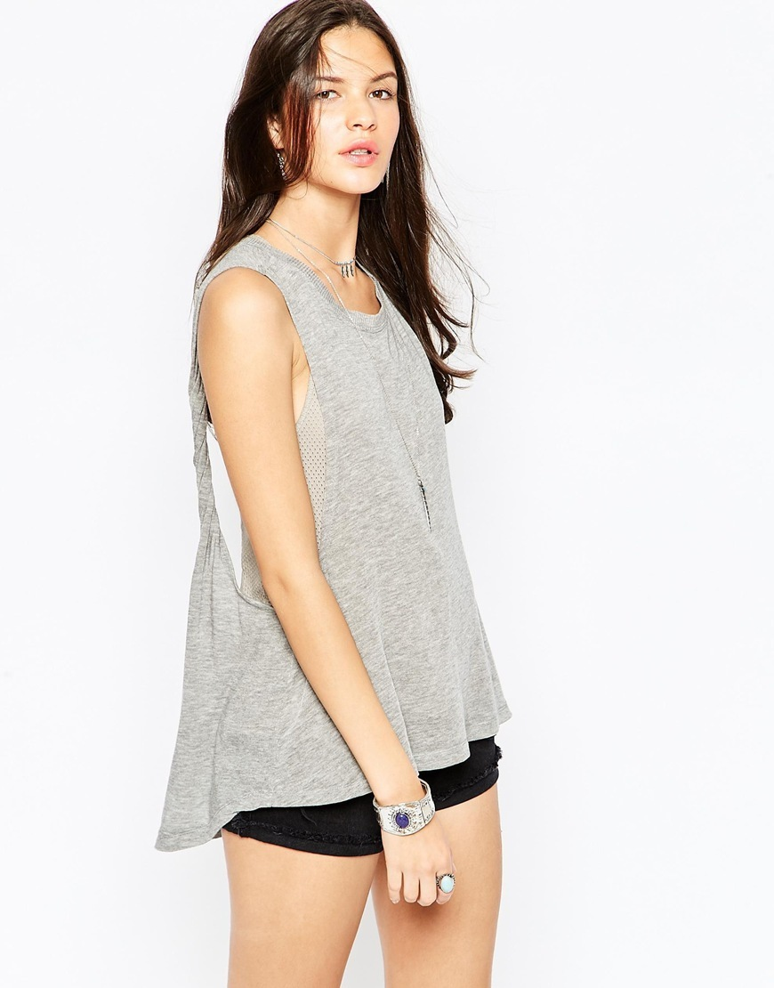 Twist Back Tank Grey Combo - neckline: round neck; pattern: plain; sleeve style: sleeveless; length: below the bottom; style: vest top; predominant colour: mid grey; occasions: casual; fibres: viscose/rayon - stretch; fit: loose; sleeve length: sleeveless; pattern type: fabric; texture group: jersey - stretchy/drapey; season: s/s 2016; wardrobe: basic