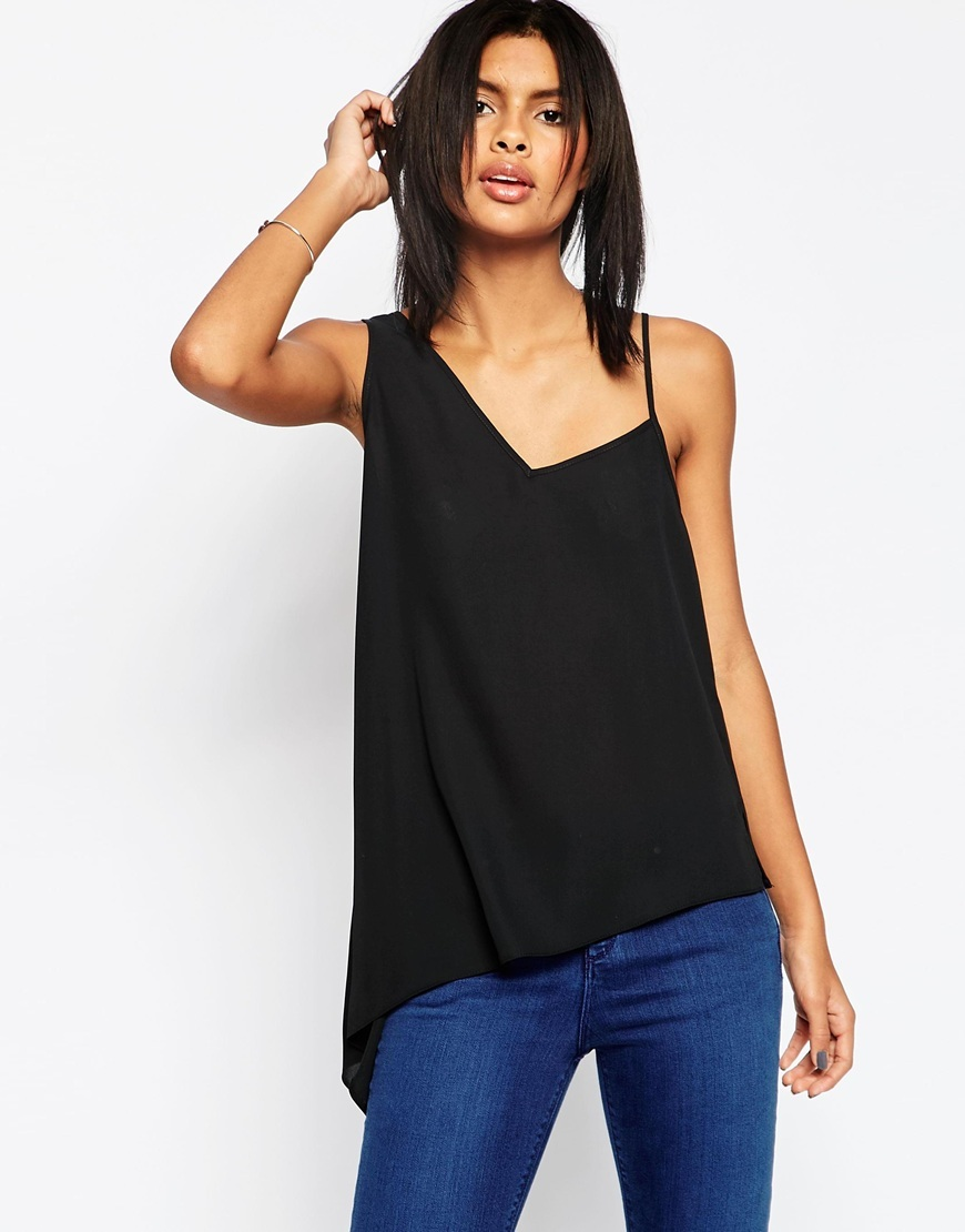 Asymmetric Strap Detail Cami Top Black - pattern: plain; sleeve style: sleeveless; style: camisole; neckline: asymmetric; predominant colour: black; occasions: casual; length: standard; fibres: polyester/polyamide - 100%; fit: body skimming; sleeve length: sleeveless; texture group: sheer fabrics/chiffon/organza etc.; pattern type: fabric; season: s/s 2016; wardrobe: basic