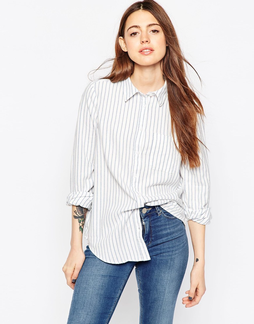 Boyfriend Shirt With Blue Stripe Multi - neckline: shirt collar/peter pan/zip with opening; style: shirt; pattern: pinstripe; back detail: racer back/sports back; predominant colour: white; secondary colour: pale blue; occasions: casual; length: standard; fibres: cotton - 100%; fit: body skimming; sleeve length: 3/4 length; sleeve style: standard; pattern type: fabric; texture group: other - light to midweight; multicoloured: multicoloured; season: s/s 2016; wardrobe: highlight