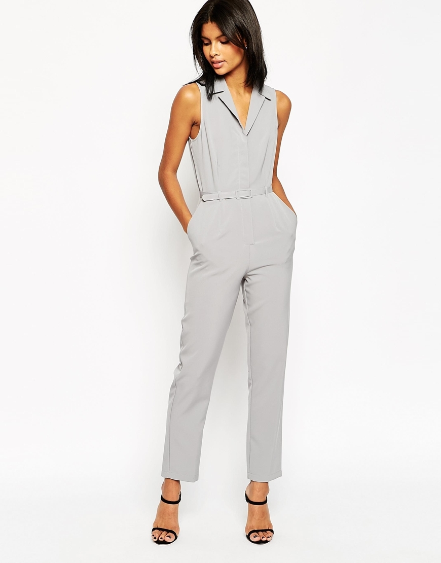 Tailored Jumpsuit With Shirt Detail Silver - length: standard; neckline: shirt collar/peter pan/zip with opening; pattern: plain; sleeve style: sleeveless; predominant colour: light grey; occasions: casual; fit: body skimming; fibres: polyester/polyamide - stretch; sleeve length: sleeveless; style: jumpsuit; pattern type: fabric; texture group: woven light midweight; season: s/s 2016; wardrobe: highlight