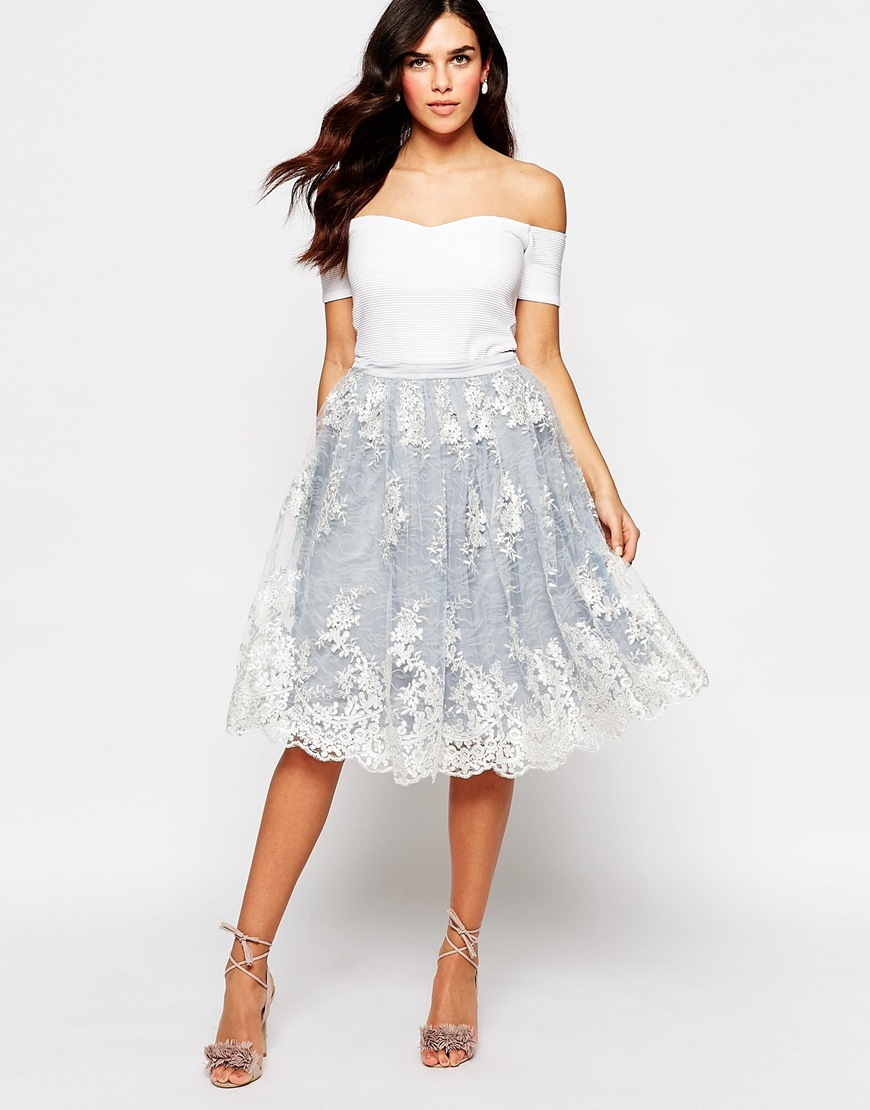 Midi Skirt With Lace Overlay Lt Blue/Cream Lace - length: below the knee; style: full/prom skirt; fit: loose/voluminous; waist: mid/regular rise; predominant colour: pale blue; occasions: evening; fibres: polyester/polyamide - 100%; texture group: lace; pattern type: fabric; pattern: patterned/print; embellishment: lace; pattern size: standard (bottom); season: s/s 2016; wardrobe: event; embellishment location: all over