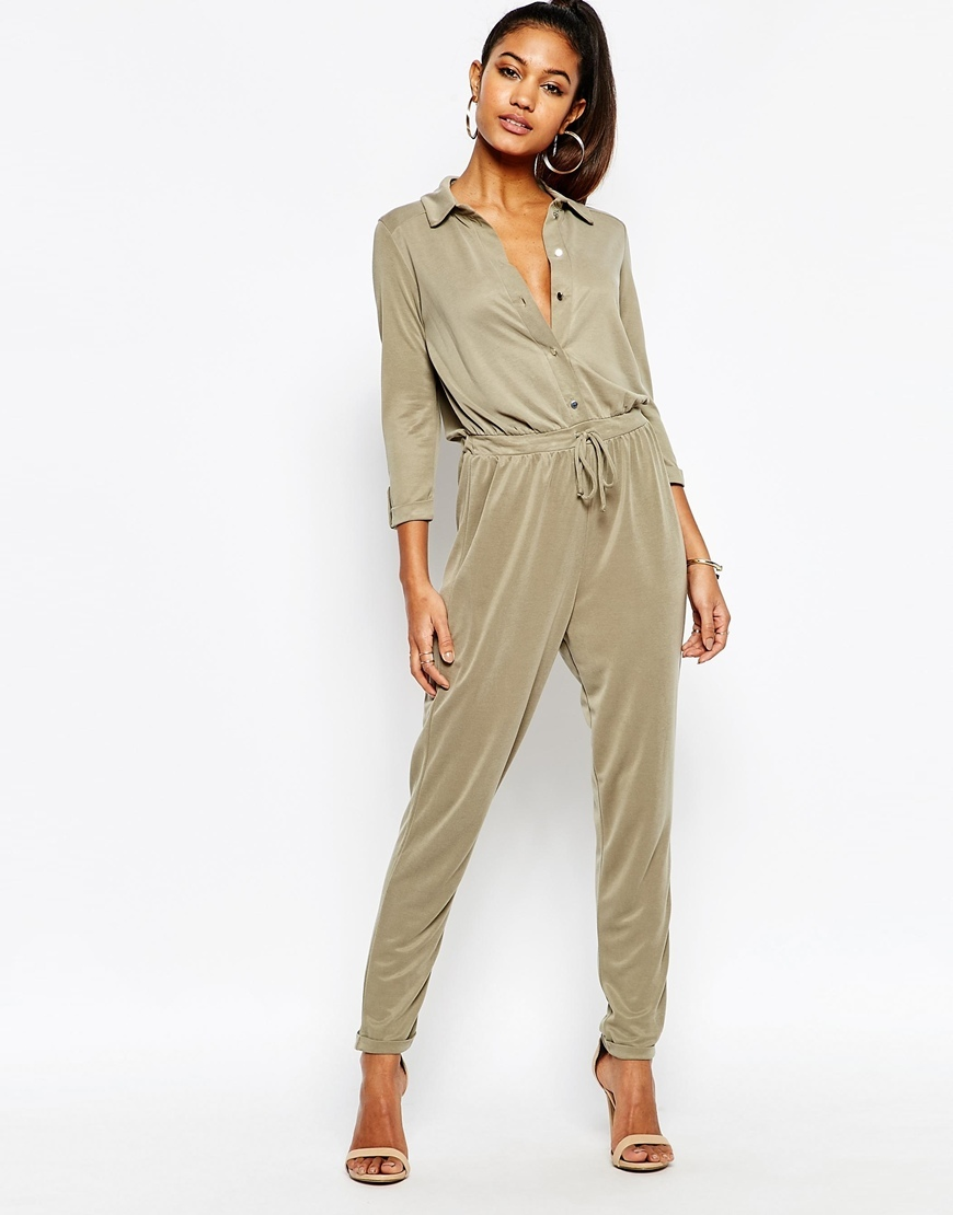 Lightweight Jumpsuit With Drawstring Waist Khaki - length: standard; neckline: shirt collar/peter pan/zip with opening; pattern: plain; waist detail: belted waist/tie at waist/drawstring; predominant colour: khaki; occasions: casual; fit: body skimming; sleeve length: 3/4 length; sleeve style: standard; style: jumpsuit; pattern type: fabric; texture group: woven light midweight; fibres: viscose/rayon - mix; season: s/s 2016