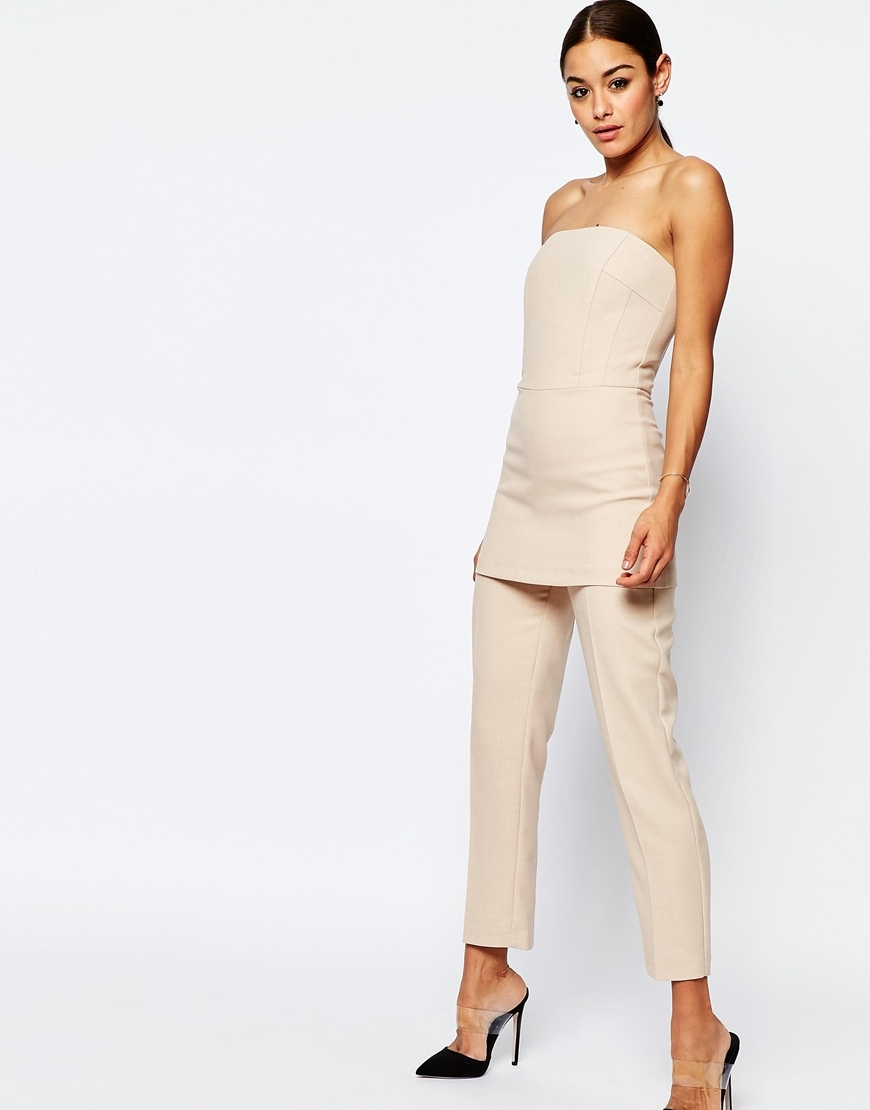 Bandeau Tunic Jumpsuit Cream - length: standard; neckline: strapless (straight/sweetheart); pattern: plain; sleeve style: strapless; predominant colour: ivory/cream; occasions: casual; fit: body skimming; fibres: polyester/polyamide - 100%; sleeve length: sleeveless; texture group: jersey - clingy; style: jumpsuit; pattern type: fabric; season: s/s 2016; wardrobe: highlight