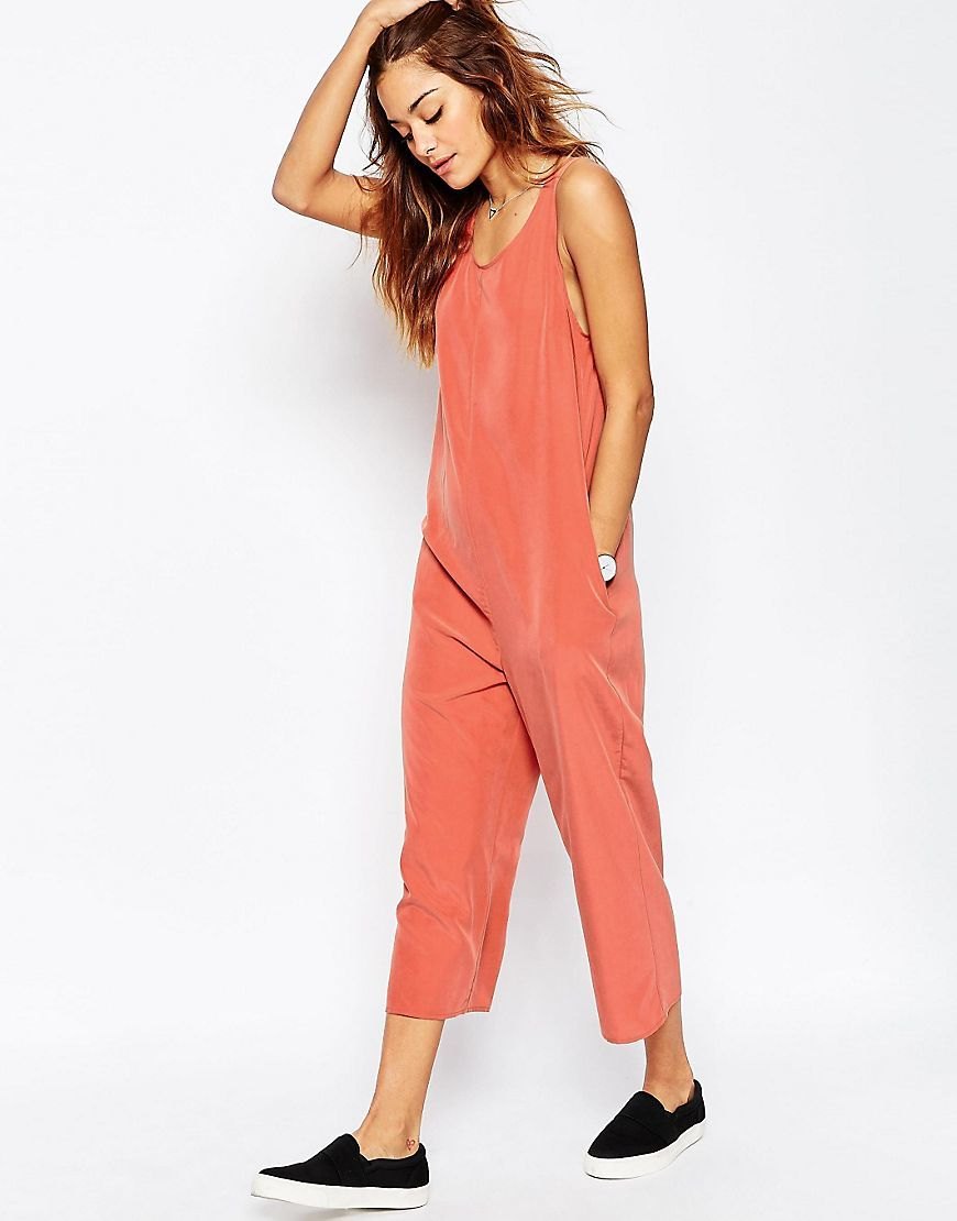Minimal Jumpsuit Rust - neckline: round neck; pattern: plain; sleeve style: sleeveless; predominant colour: coral; occasions: casual; length: calf length; fit: body skimming; sleeve length: sleeveless; style: jumpsuit; pattern type: fabric; texture group: jersey - stretchy/drapey; fibres: viscose/rayon - mix; season: s/s 2016; wardrobe: highlight