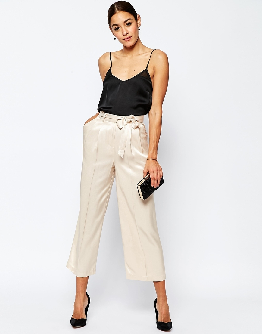 Premium Satin Culotte Suit Trousers Cream - pattern: plain; pocket detail: pockets at the sides; waist detail: belted waist/tie at waist/drawstring; waist: mid/regular rise; predominant colour: ivory/cream; occasions: evening; length: calf length; fibres: polyester/polyamide - 100%; texture group: structured shiny - satin/tafetta/silk etc.; fit: straight leg; pattern type: fabric; style: standard; season: s/s 2016; wardrobe: event