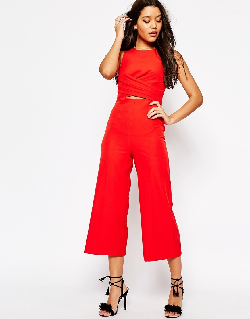 Wrap Waist Jumpsuit Tomato - pattern: plain; sleeve style: sleeveless; predominant colour: true red; occasions: casual; length: calf length; fit: body skimming; fibres: polyester/polyamide - stretch; neckline: crew; waist detail: cut out detail; sleeve length: sleeveless; style: jumpsuit; pattern type: fabric; texture group: jersey - stretchy/drapey; season: s/s 2016; wardrobe: highlight