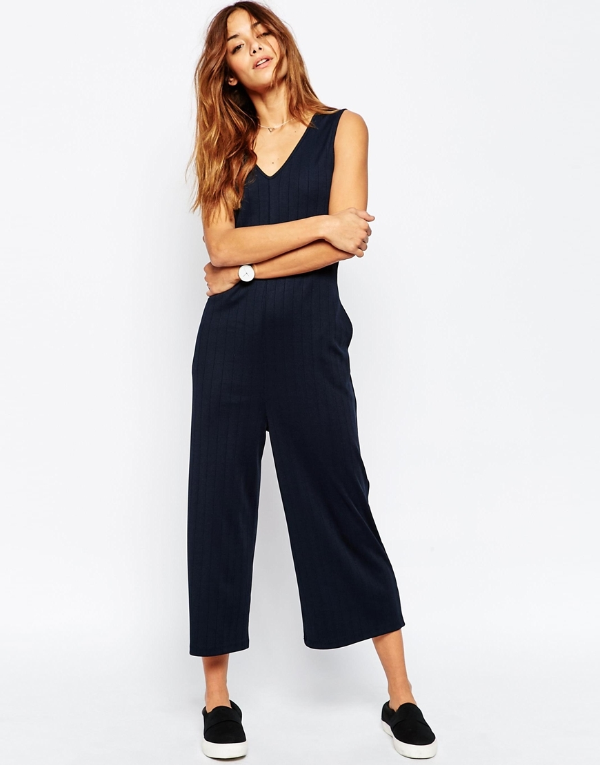 Minimal Jersey Jumpsuit In Self Stripe With V Neck Navy - neckline: v-neck; sleeve style: sleeveless; pattern: striped; predominant colour: navy; occasions: evening; length: calf length; fit: body skimming; fibres: polyester/polyamide - 100%; sleeve length: sleeveless; style: jumpsuit; pattern type: fabric; texture group: jersey - stretchy/drapey; season: s/s 2016; wardrobe: event